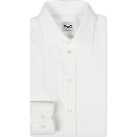 ARMANI Stretch-cotton shirt (White