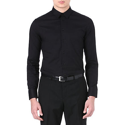 ARMANI Slim stretch-cotton shirt (Black