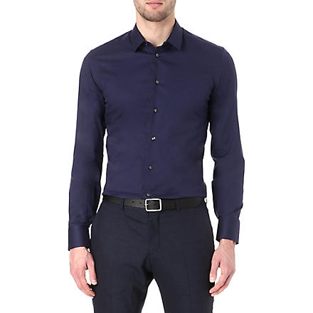 ARMANI Slim stretch-cotton shirt (Navy