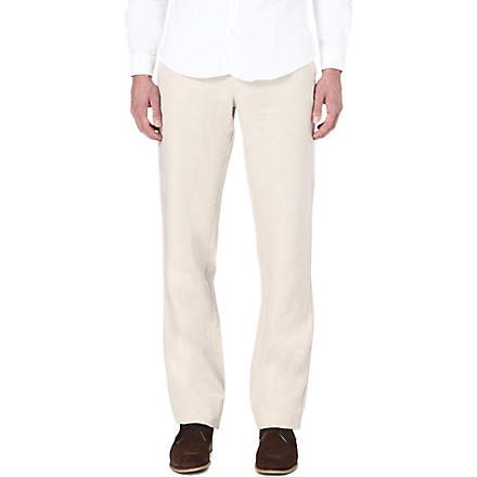 ARMANI Straight-leg linen-blend trousers (Cream