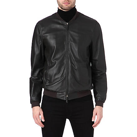 ARMANI Leather bomber jacket (Mud
