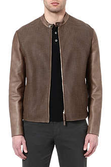 ARMANI Contrast-panel leather jacket