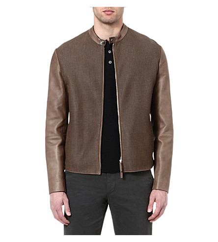 ARMANI Contrast-panel leather jacket (Brown