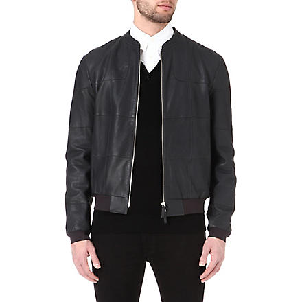 ARMANI Patchwork leather jacket (Navy