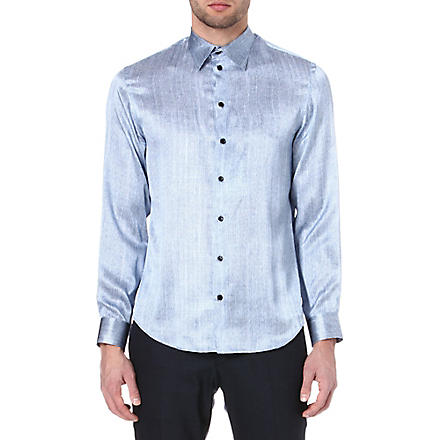 ARMANI Printed silk shirt (Blue