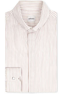 ARMANI Pinstripe cotton-blend shirt