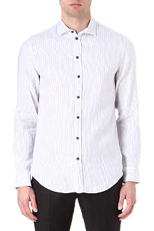 ARMANI Soft collar cotton-linen stripe shirt
