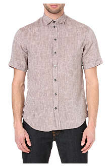 ARMANI Short-sleeved linen shirt