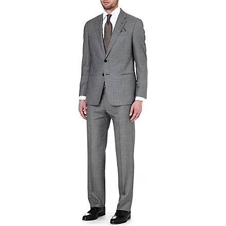 ARMANI Single-breasted striped wool suit (Taupe