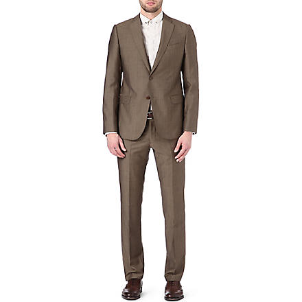 ARMANI Metropolitan wool and mohair-blend suit (Tobacco