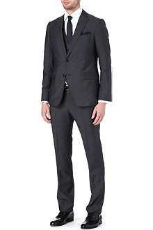 ARMANI Three-piece wool and mohair-blend suit