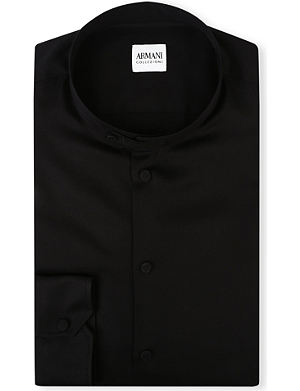 ARMANI COLLEZIONI Grandad-collar regular-fit single-cuff shirt