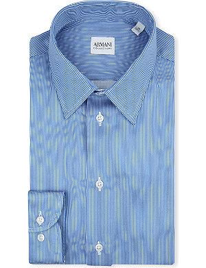 ARMANI COLLEZIONI Striped modern-fit single-cuff shirt