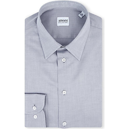 ARMANI COLLEZIONI Modern-fit cotton-poplin single-cuff shirt (Grey