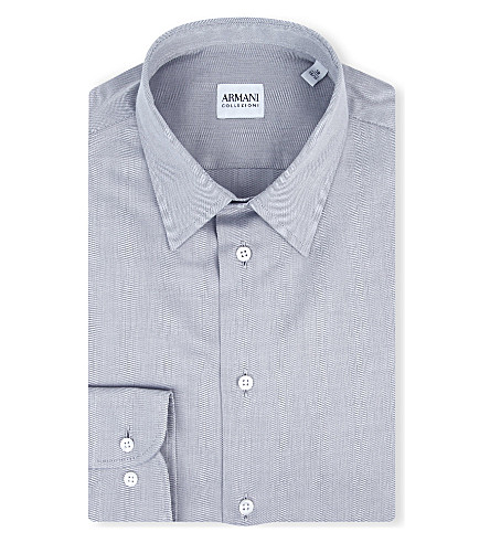 ARMANI COLLEZIONI Modern-fit cotton-poplin single-cuff shirt (Grey