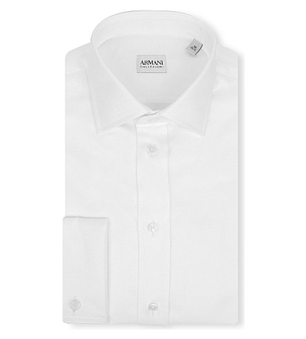 ARMANI COLLEZIONI Twill modern-fit double-cuff shirt (White