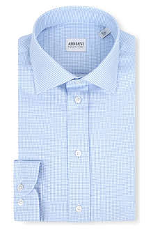 ARMANI COLLEZIONI Micro checked modern-fit single-cuff shirt