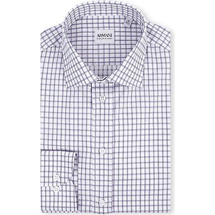 ARMANI COLLEZIONI Modern-fit check-print shirt (White/navy
