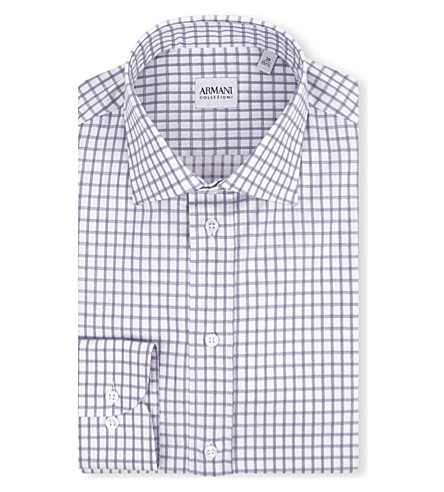 ARMANI COLLEZIONI Modern-fit check-print shirt (White/navy