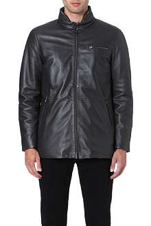 ARMANI COLLEZIONI Concealed-hood leather jacket