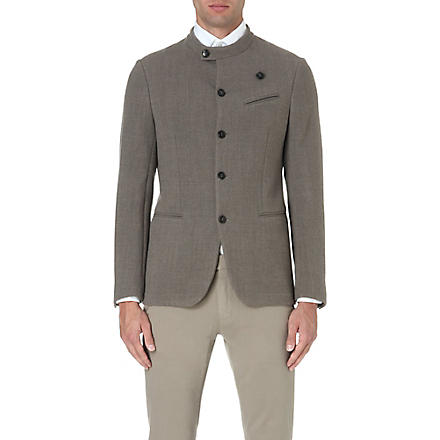 ARMANI COLLEZIONI Sharply tailored wool jacket (Taupe