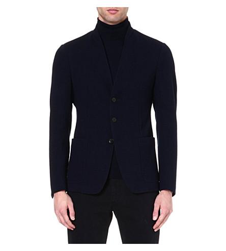 ARMANI COLLEZIONI Stand-collar jacket (Navy