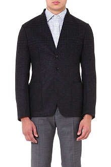 ARMANI COLLEZIONI Collarless degradè checked blazer