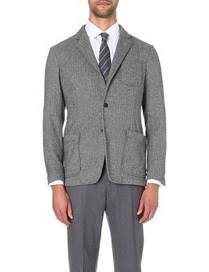 ARMANI COLLEZIONI Herringbone print cotton jacket