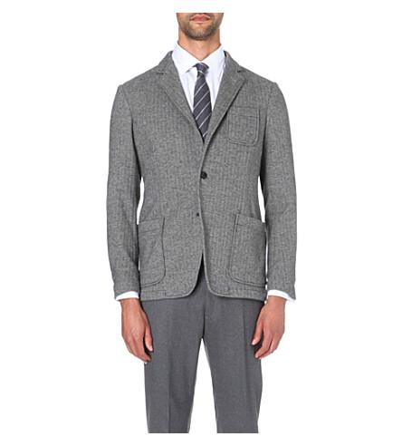 ARMANI COLLEZIONI Herringbone print cotton jacket (Grey