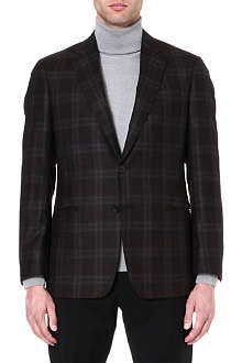 ARMANI COLLEZIONI Wool and cashmere-blend checked jacket