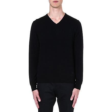 ARMANI COLLEZIONI Merino wool v-neck jumper (Midnight