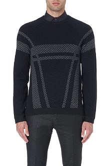 ARMANI COLLEZIONI Chevron-print wool jumper