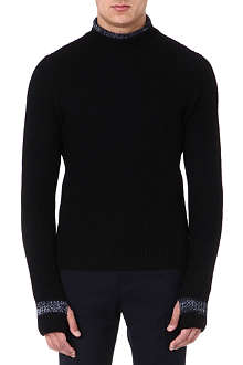ARMANI COLLEZIONI Contrast-detail knitted jumper