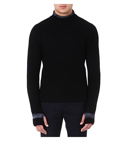 ARMANI COLLEZIONI Contrast-detail knitted jumper (Midnight