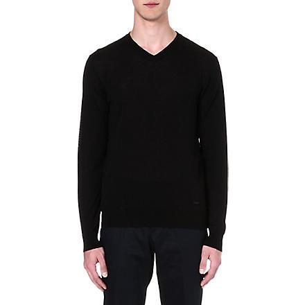 ARMANI COLLEZIONI Wool v-neck jumper (Black