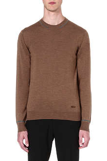 ARMANI COLLEZIONI Contrast-tipping knitted jumper