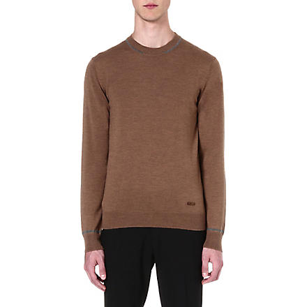 ARMANI COLLEZIONI Contrast-tipping knitted jumper (Camel