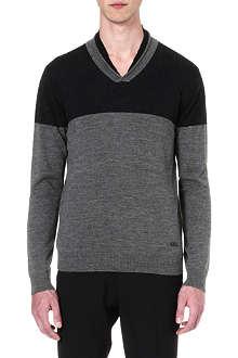 ARMANI COLLEZIONI Contrast shawl-collar jumper