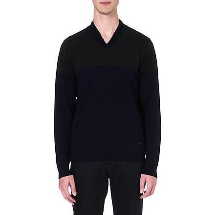 ARMANI COLLEZIONI Contrast shawl-collar jumper (Navy