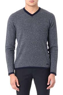 ARMANI COLLEZIONI Micro-dogtooth cashmere jumper