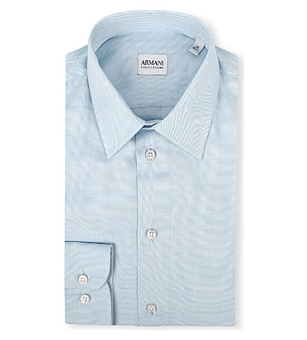ARMANI COLLEZIONI Modern-fit single-cuff shirt (Sky