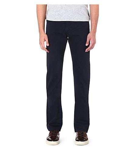 ARMANI COLLEZIONI J15 cotton-gabardine trousers (Navy