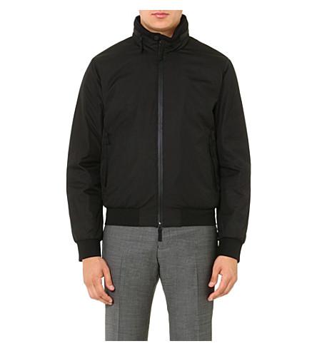 ARMANI COLLEZIONI Concealed-hood bomber jacket (Black
