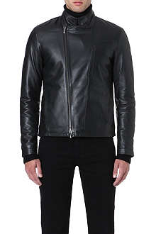 ARMANI COLLEZIONI Asymmetric-zip leather biker jacket
