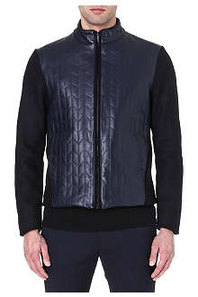 ARMANI COLLEZIONI Chevron leather-panel jacket