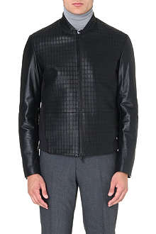 ARMANI COLLEZIONI Square-detail perforated leather jacket
