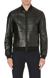 ARMANI COLLEZIONI Bonded square-panelled leather jacket