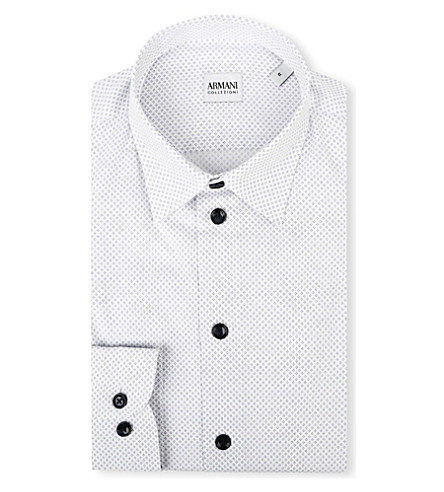 ARMANI COLLEZIONI Modern-fit diamond-print shirt (White