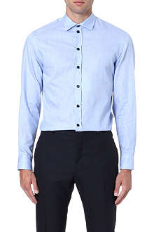 ARMANI COLLEZIONI Slub-cotton modern-fit single-cuff shirt