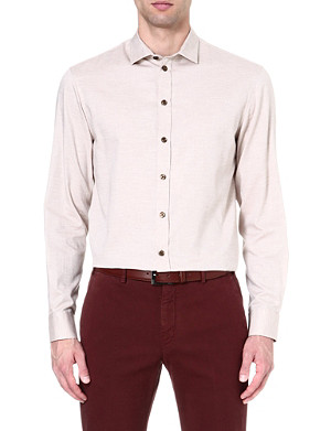ARMANI COLLEZIONI Regular-fit cotton-slub shirt